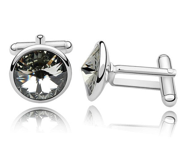Gray Crystal Cufflinks Made With Swarovski Elements - White Gold plated