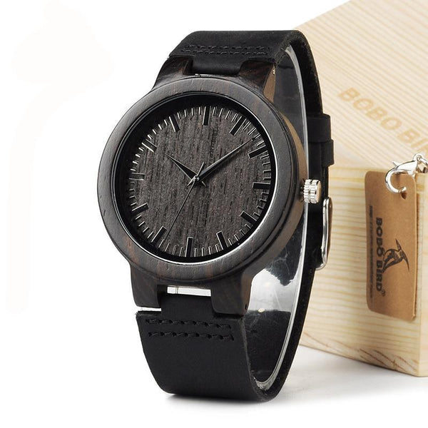 Men's Bamboo Wood Watch with Genuine Leather Strap comes in Gift Box