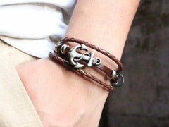 Promo Giveaway - Genuine Leather Men's Anchor Bracelet
