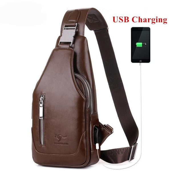 Men's  Crossbody Messenger Bag with USB Charger , Men Shoulder/Chest Bag, PU leather (USB Charger not on all bags)