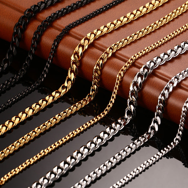 Stainless Steel Men's Chain Necklace - Select Size and Color