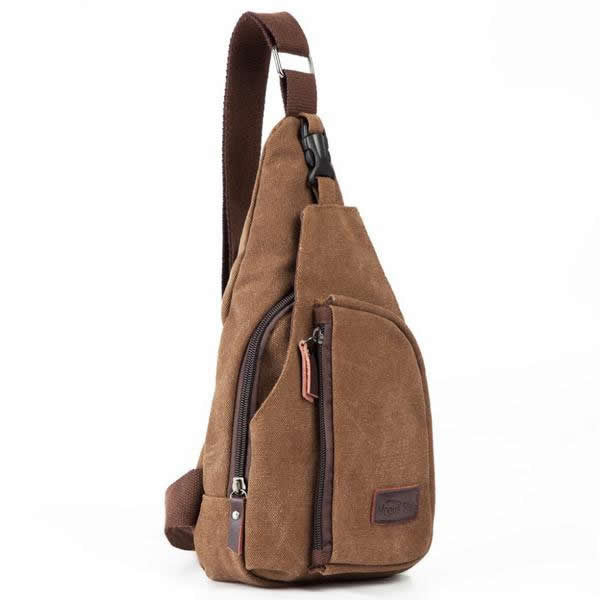 Men's Canvas Shoulder Bag - Travel Military Bag - 3 Colors