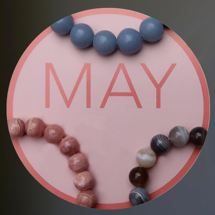 Month of May with angelite, rhodochrosite and agate bracelets