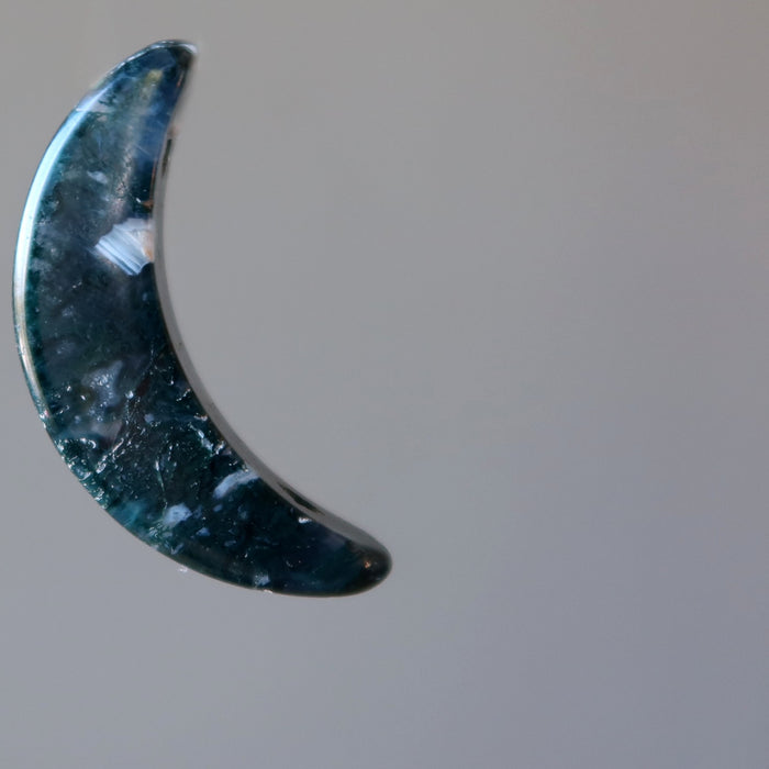 moss agate crescent moon shape stone