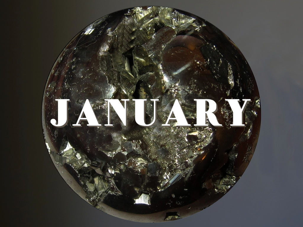 pyrite sphere on gray wall with word January