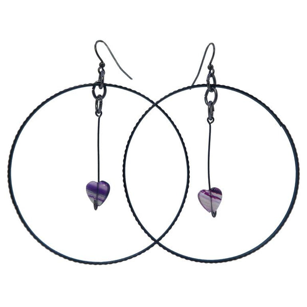 Fluorite Heart Hoop Earrings