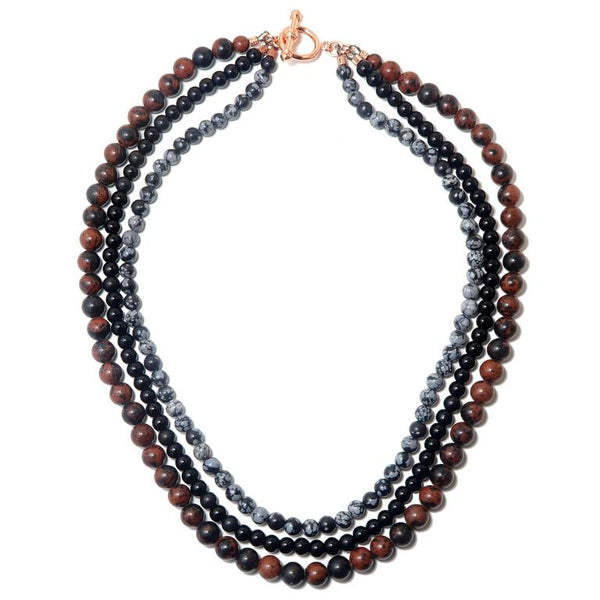 Multi-strand Obsidian Necklace
