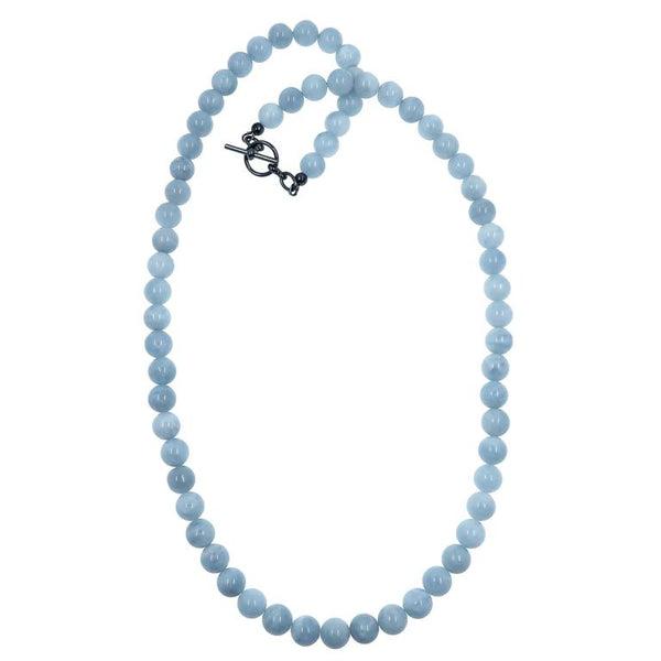 Blue Aquamarine beaded round necklace with gunmetal toggle clasp