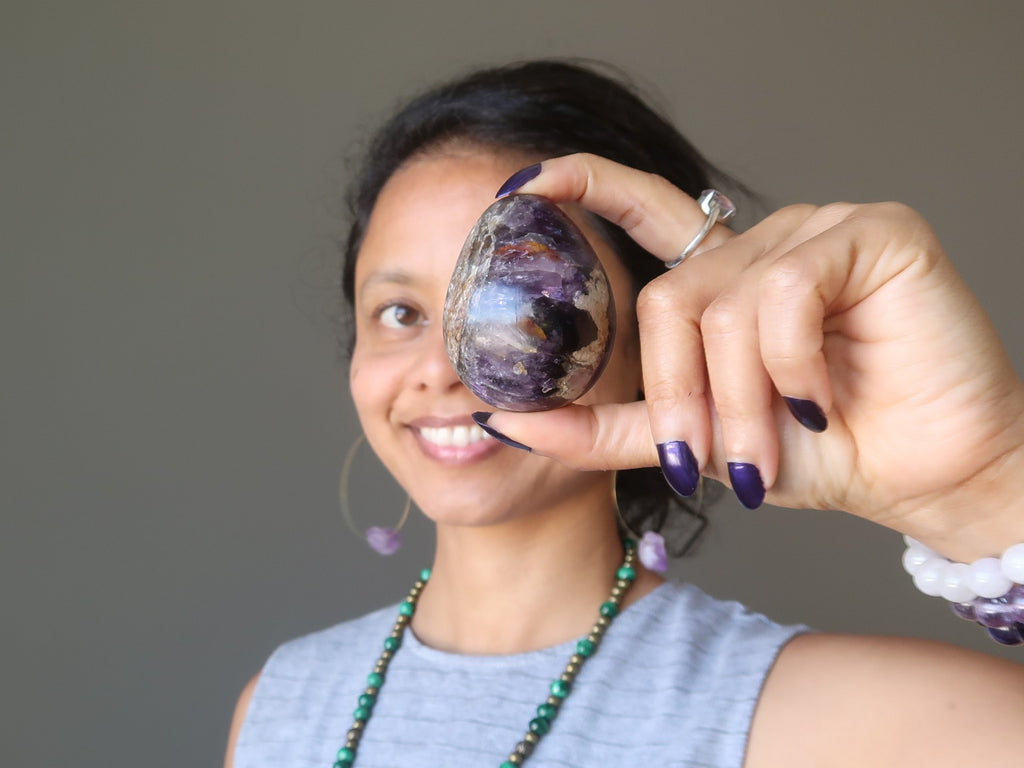 sheila of satin crystals with amethyst egg