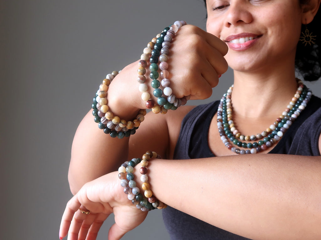 stacking up agate medley bracelets and necklace