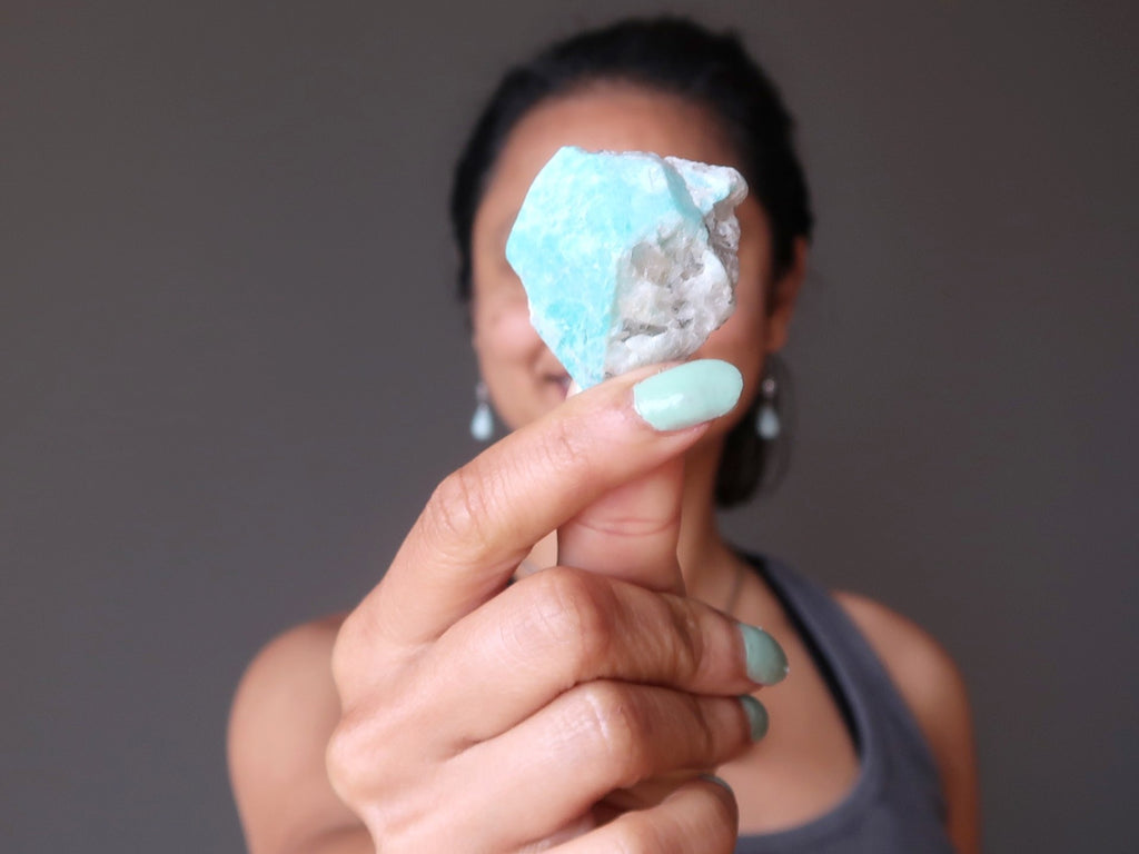 raw blue cluster of amazonite - satin crystals meanings