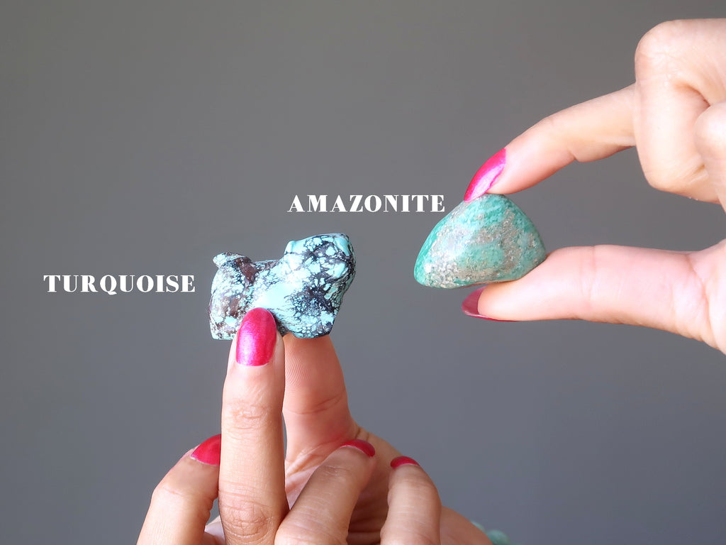 turquoise vs amazonite stones - satin crystals meanings