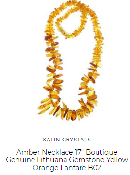 amber necklace by satin crystals with golden baltic beads