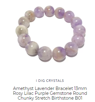 lavender round bead crystal healing bracelet custom made by satin crystals