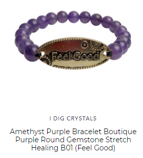 purple feel good crystal healing bracelet custom jewelry designer I Dig Crystals line by Satin Crystals
