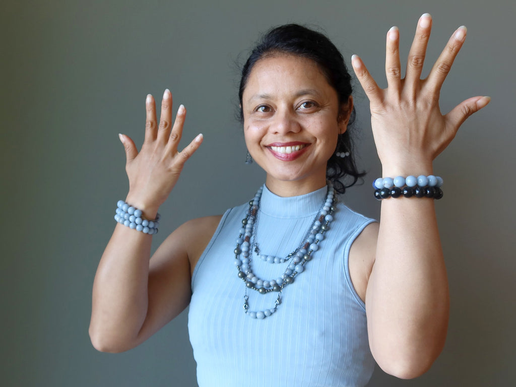 sheila of satin crystals wearing blue angelite jewelry