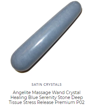 blue angelite massage wand for throat chakra energy healing and deep tissue physical work