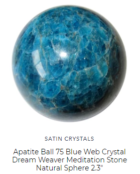 satin crystals blue apatite sphere crystal healing ball for throat and third eye chakras