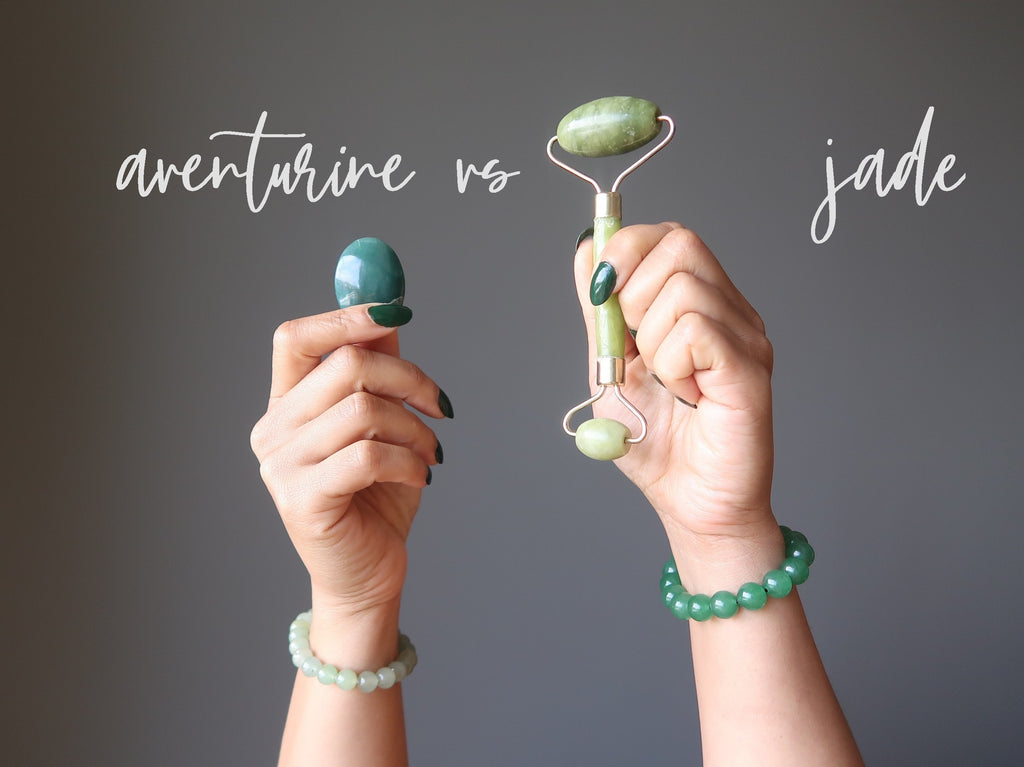 green aventurine cabochon and bracelet versus jade facial roller and jewelry