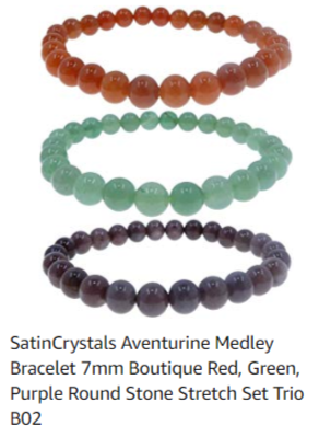satin crystals trio of round stretch bracelets in red, green, and purple aventurine for a medley of abundance