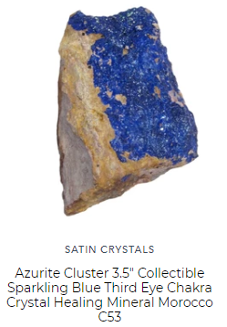 blue azurite natural cluster for healing by satin crystals