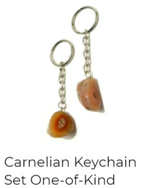carnelian keychain pair of two stones