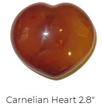 orange and red carnelian gemstone heart