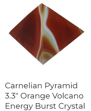 carnelian pyramid with white lines running through the orange and red stone