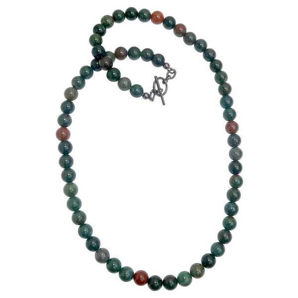 Round Indian Bloodstone beaded necklace with gunmetal toggle clasp