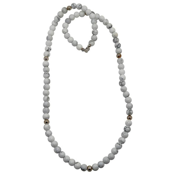 White and gray Howlite round beaded necklace with silver metal beads
