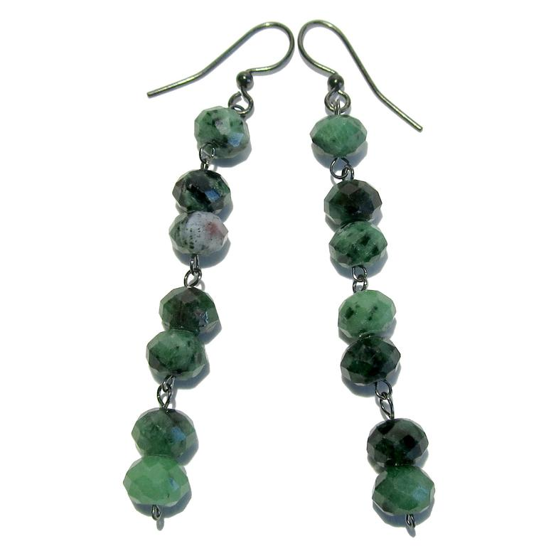 Green Zoisite with Red Ruby spots and black mineral inclusions faceted into beads and wire wrapped on gunmetal earrings