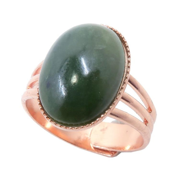 Oval dark green Nephrite Jade in copper adjustable ring