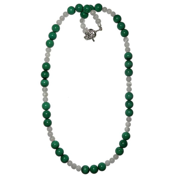 Green Malachite & white Selenite round beaded necklace with silver toggle clasp