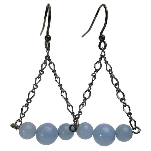 Blue Angelite earrings on gunmetal chains.