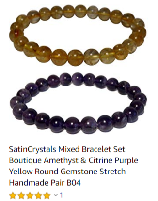 yellow citrine and purple amethyst beaded bracelet set for spiritual abundance by satin crystals