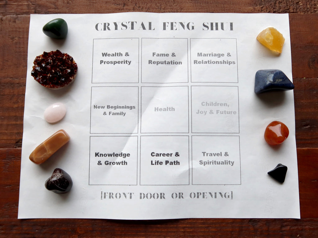 feng shui energy map with crystals