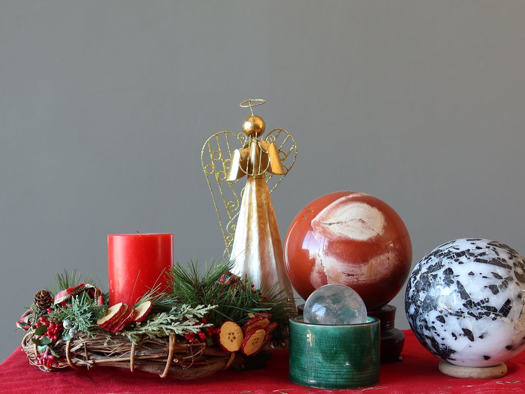 crystal spheres and christmas decorations