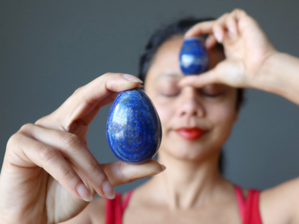 meditation with lapis lazuli stone eggs