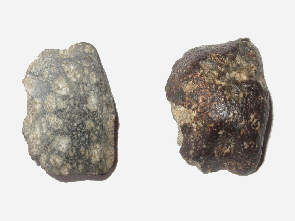 front and back image of eucrite meteorite rock specimen at satin crystals