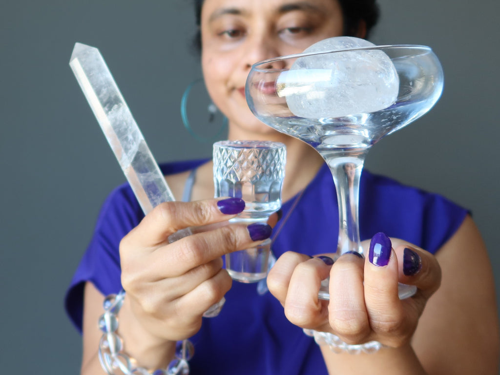 sheila of satin crystals holding real quartz and glass