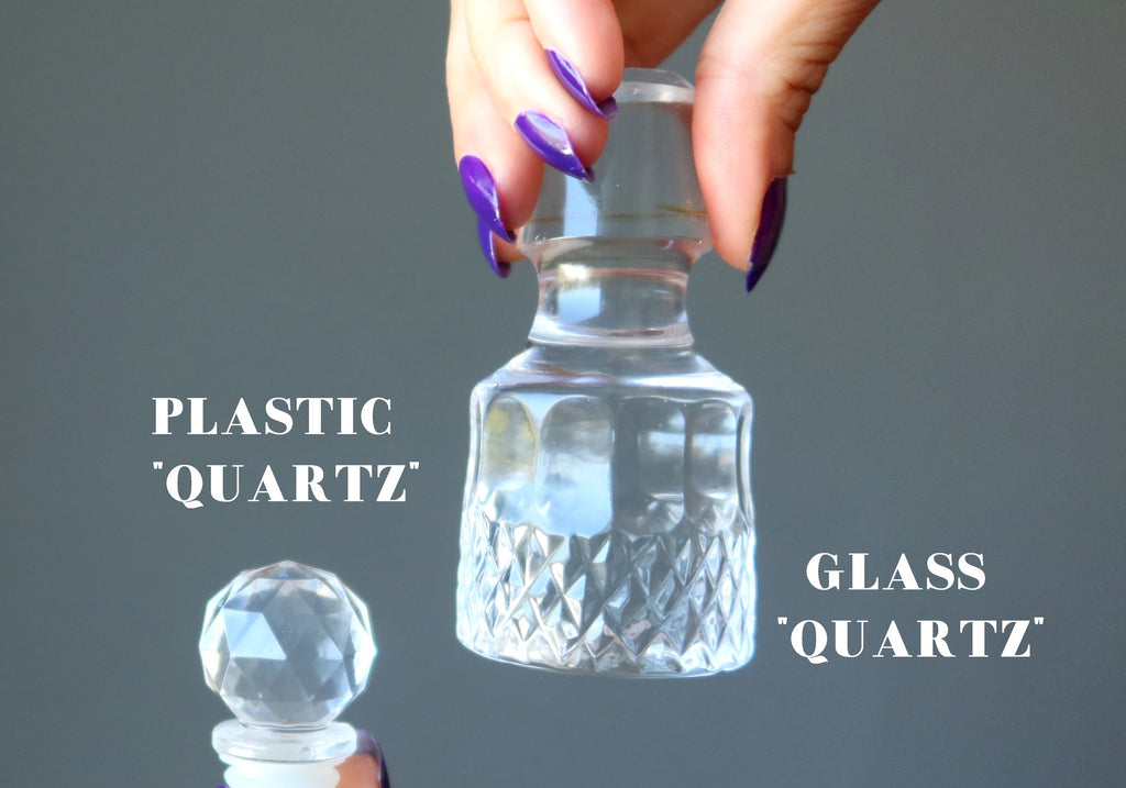 clear faceted plastic and faceted glass bottle stoppers