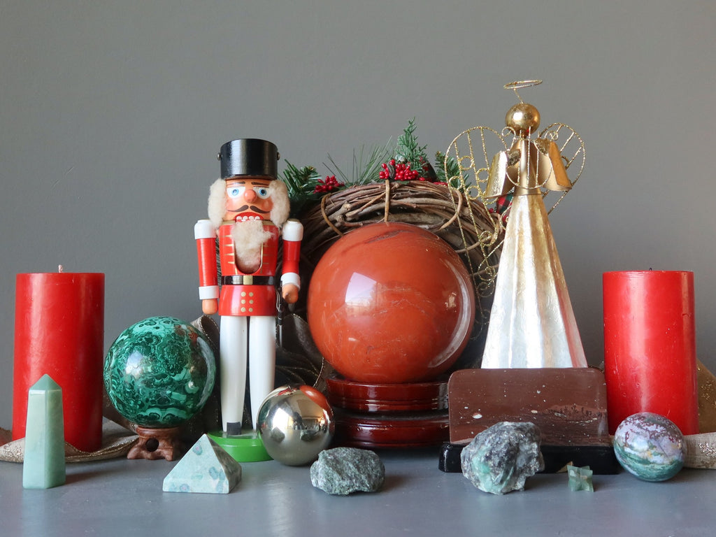 crystals and christmas decorations