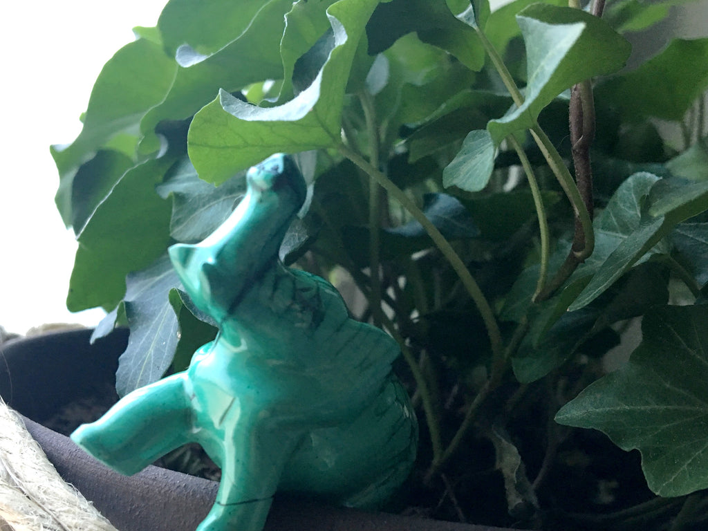 Malachite Elephant in Potted Plant - Satin Crystals Blog