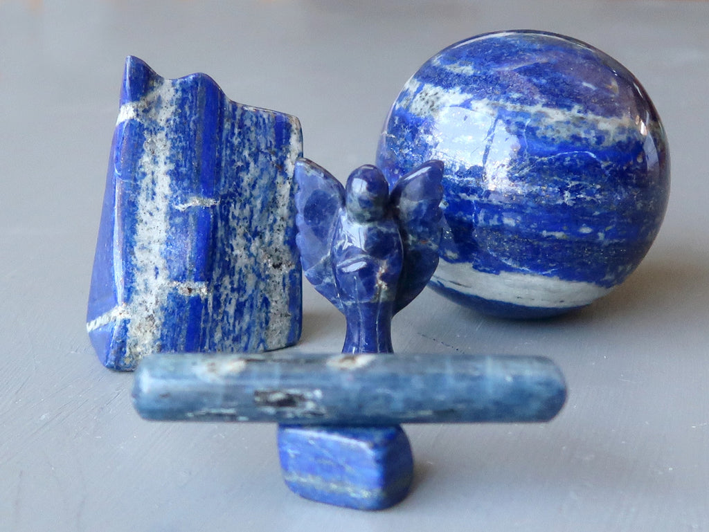 blue lapis, kyanite and sodalite crystals for the third eye chakra