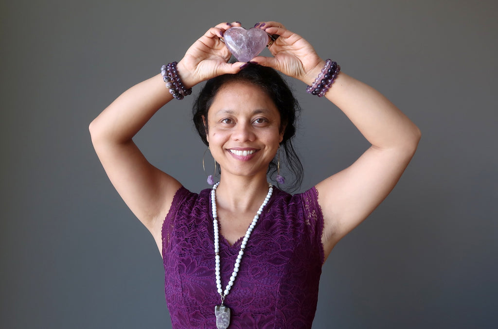sheila of satin crystals with an amethyst heart at her crown chakra