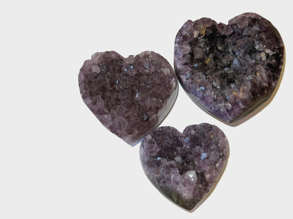 Amethyst cluster geode hearts - satin crystals shop