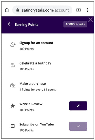 mobile view of satincrystals.com showing reward levels
