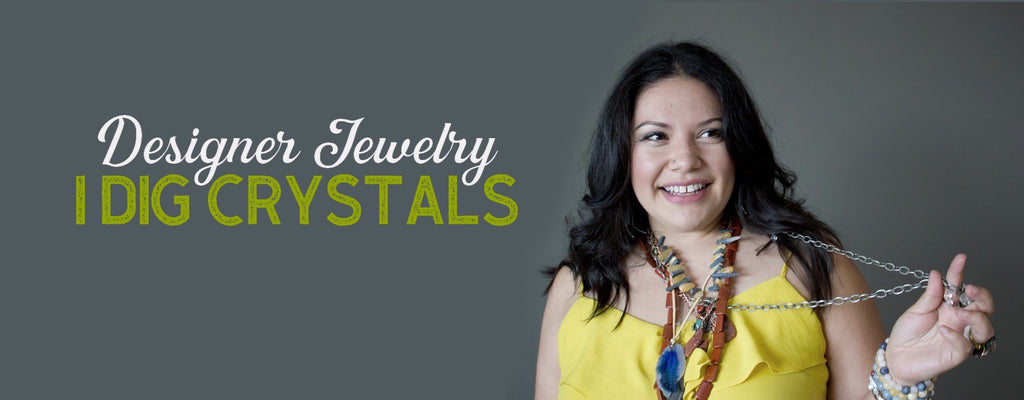 jewelry model in yellow top and stacks of handmade gemstone necklaces by I Dig Crystals at Satin Crystals