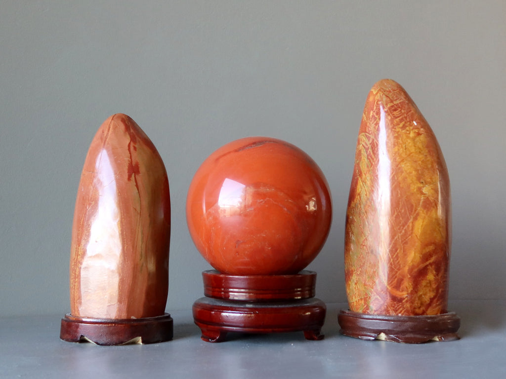 red jasper polished stones and sphere