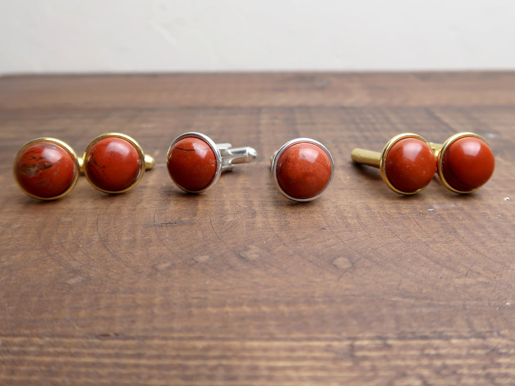 2 pairs of red jasper in gold and silver cufflinks